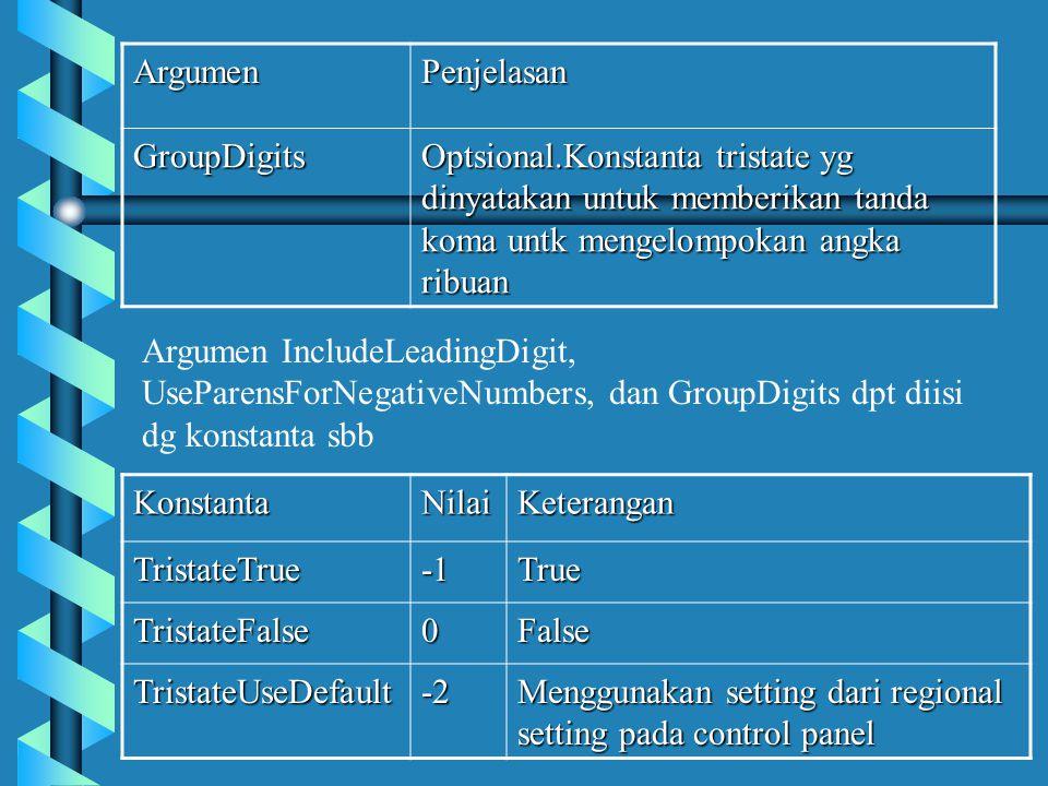 ArgumenPenjelasan GroupDigits Optsional.Konstanta tristate yg dinyatakan untuk memberikan tanda koma untk mengelompokan angka ribuan Argumen IncludeLeadingDigit, UseParensForNegativeNumbers, dan GroupDigits dpt diisi dg konstanta sbbKonstantaNilaiKeteranganTristateTrueTrue TristateFalse0False TristateUseDefault-2 Menggunakan setting dari regional setting pada control panel