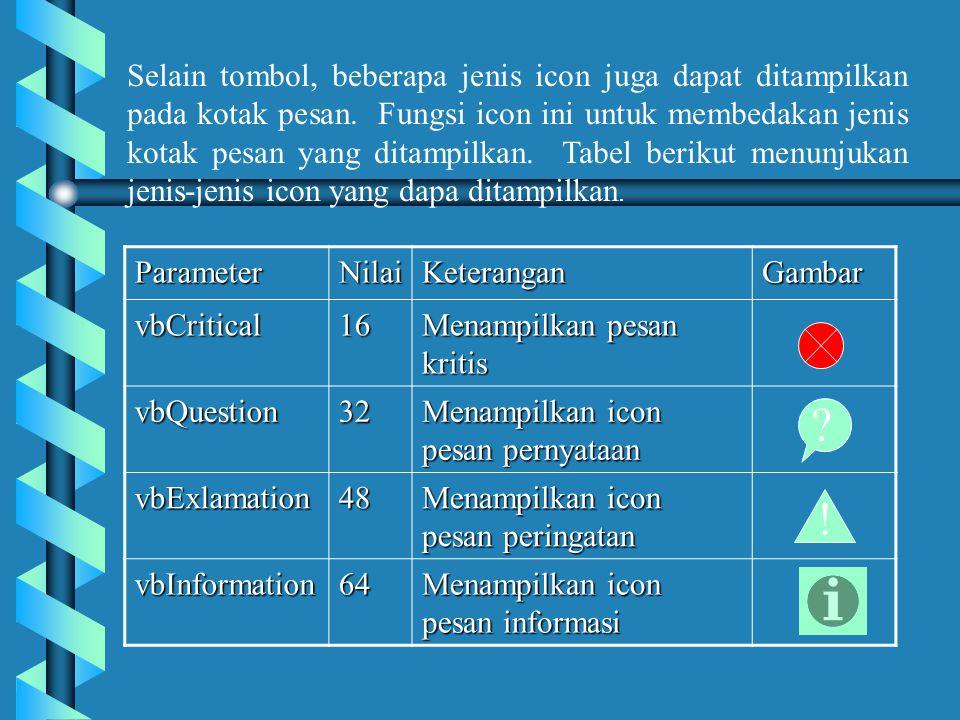 Selain tombol, beberapa jenis icon juga dapat ditampilkan pada kotak pesan.