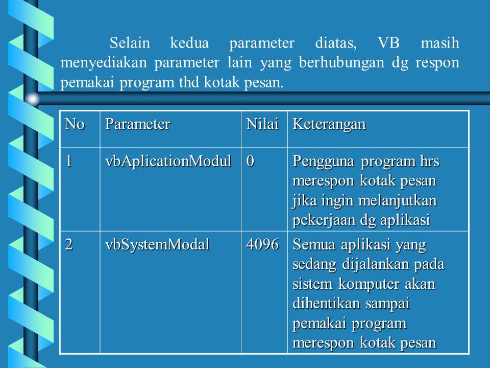 Jenis parameter vbSystemModal biasanya digunakan agar kesalahan yang terjadi tidak merambat ke aplikasi yang sedang dijalankan.