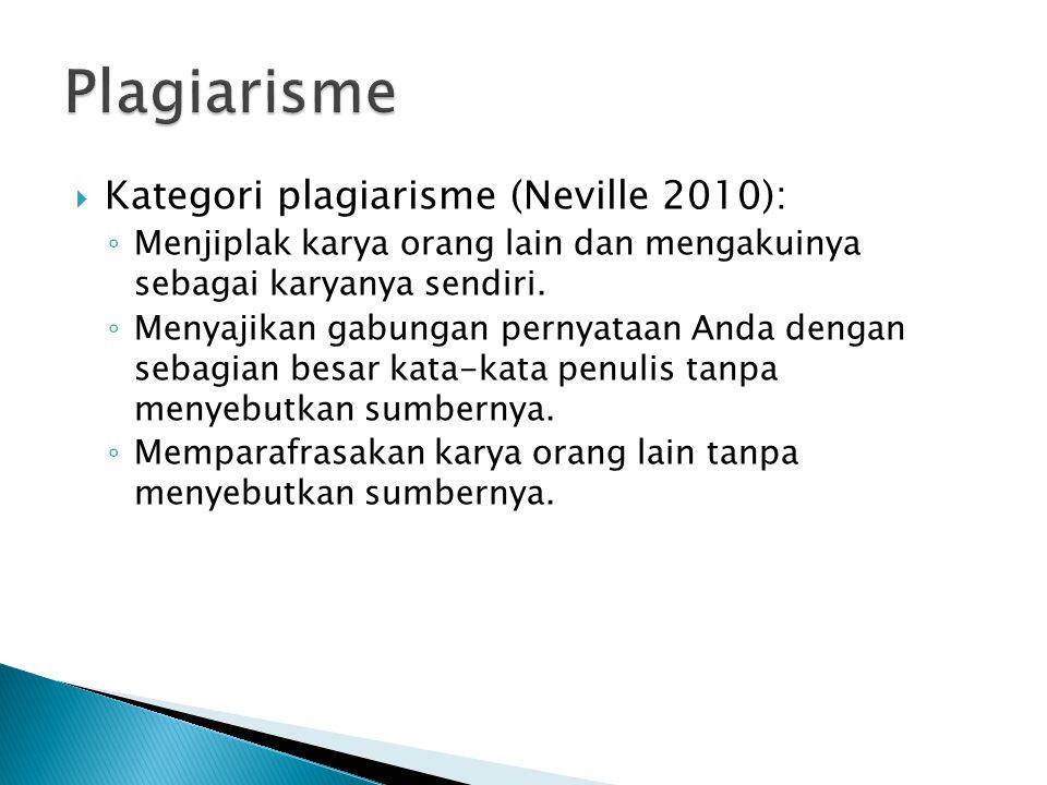  Kategori plagiarisme (Neville 2010): ◦ Menjiplak karya orang lain dan mengakuinya sebagai karyanya sendiri.