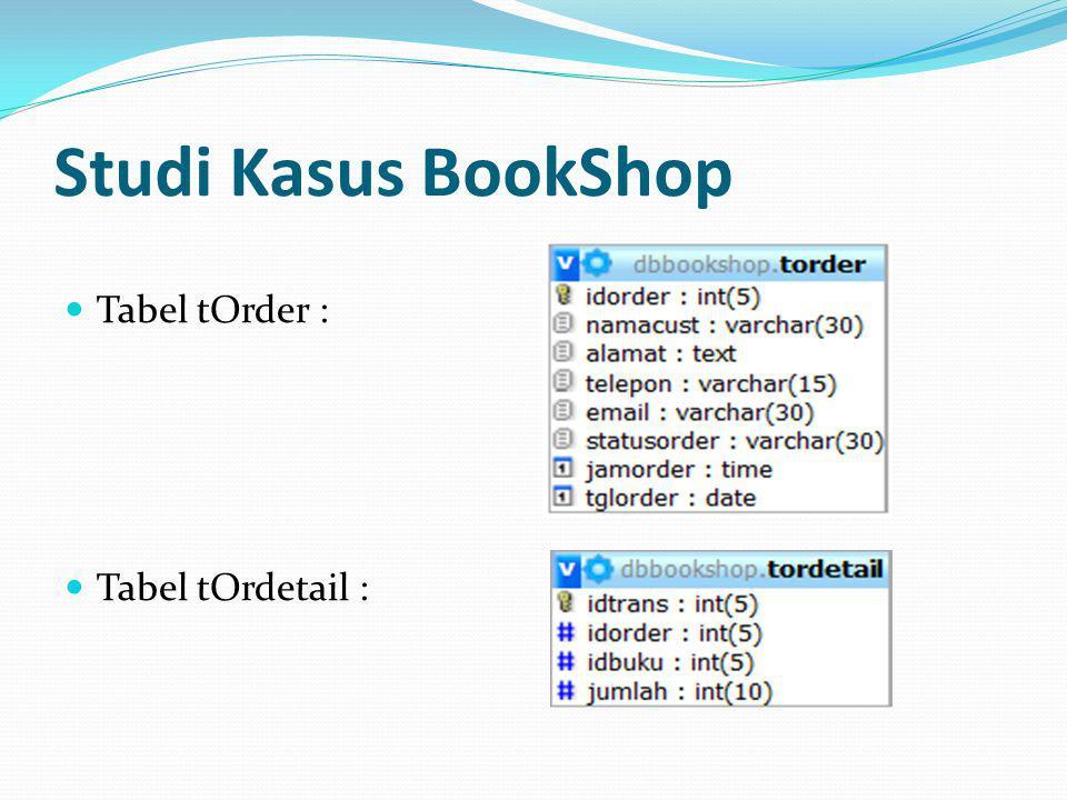 Studi Kasus BookShop Tabel tOrder : Tabel tOrdetail :
