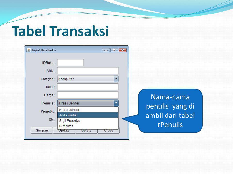 Tabel Transaksi Nama-nama penulis yang di ambil dari tabel tPenulis