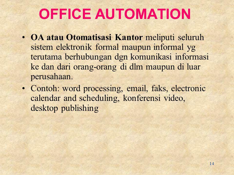 14 OFFICE AUTOMATION OA atau Otomatisasi Kantor meliputi seluruh sistem elektronik formal maupun informal yg terutama berhubungan dgn komunikasi informasi ke dan dari orang-orang di dlm maupun di luar perusahaan.