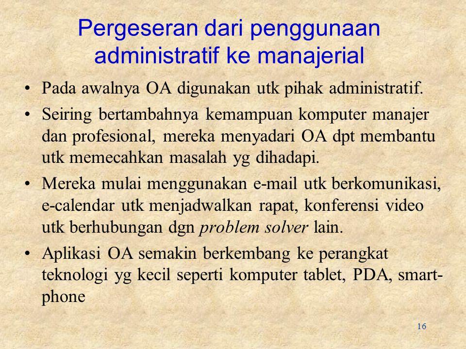 16 Pergeseran dari penggunaan administratif ke manajerial Pada awalnya OA digunakan utk pihak administratif.