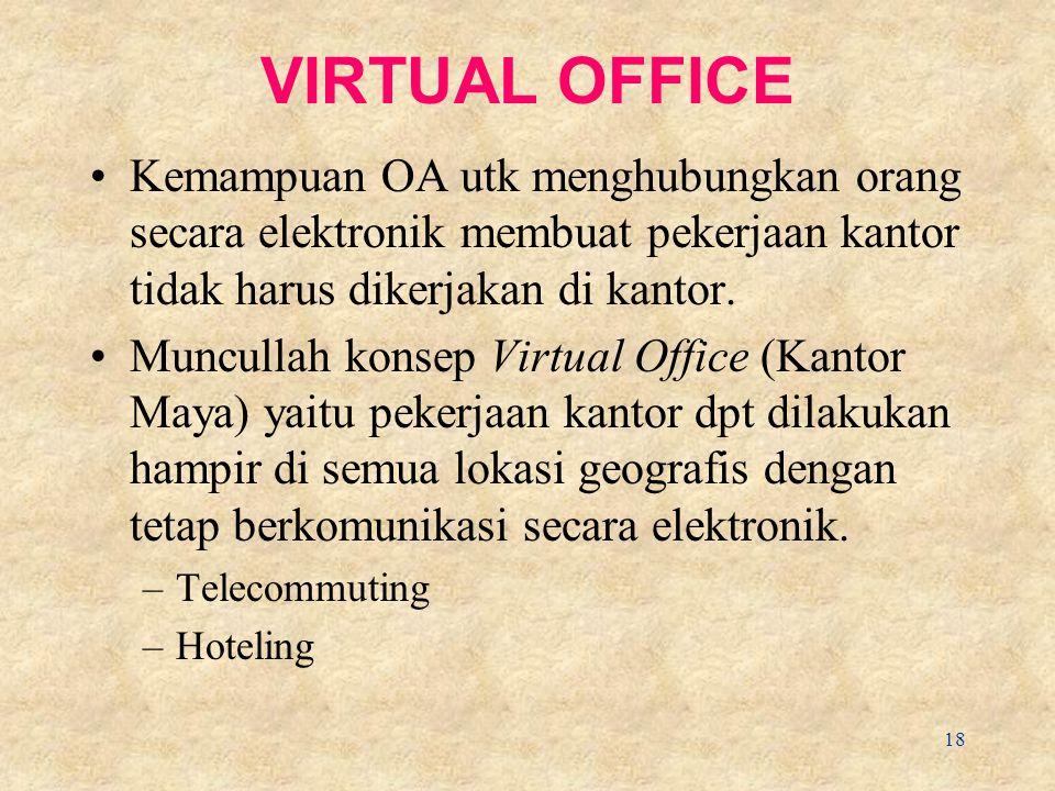 18 VIRTUAL OFFICE Kemampuan OA utk menghubungkan orang secara elektronik membuat pekerjaan kantor tidak harus dikerjakan di kantor.