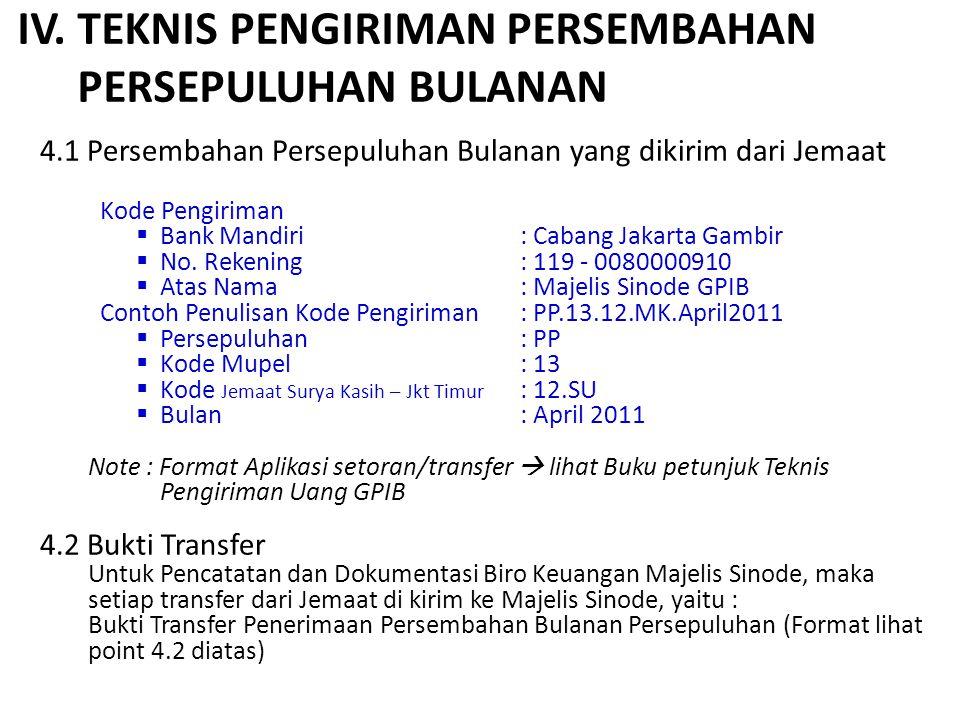 IV. TEKNIS PENGIRIMAN PERSEMBAHAN PERSEPULUHAN BULANAN 4.1 Persembahan Persepuluhan Bulanan yang dikirim dari Jemaat Kode Pengiriman  Bank Mandiri: C