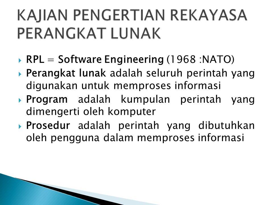  RPL = Software Engineering (1968 :NATO)  Perangkat lunak adalah seluruh perintah yang digunakan untuk memproses informasi  Program adalah kumpulan