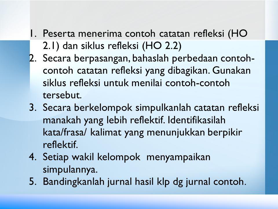 1.Peserta menerima contoh catatan refleksi (HO 2.1) dan siklus refleksi (HO 2.2) 2.Secara berpasangan, bahaslah perbedaan contoh- contoh catatan refleksi yang dibagikan.