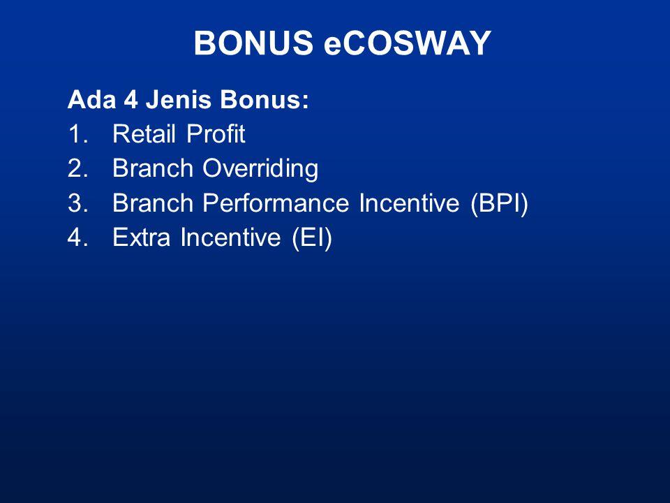BONUS eCOSWAY Ada 4 Jenis Bonus: 1.Retail Profit 2.Branch Overriding 3.Branch Performance Incentive (BPI) 4.Extra Incentive (EI)