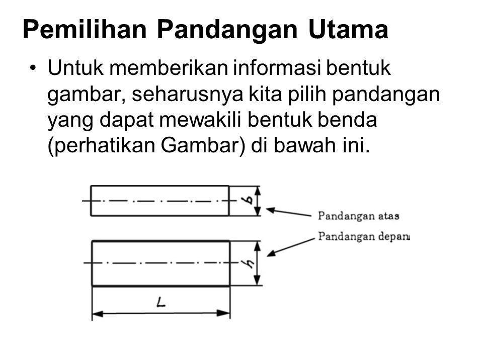 Pemilihan Pandangan Utama Untuk memberikan informasi bentuk gambar, seharusnya kita pilih pandangan yang dapat mewakili bentuk benda (perhatikan Gamba