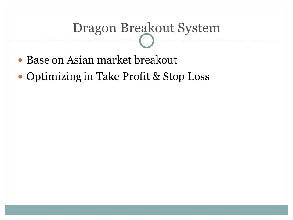 Dragon Breakout System Base on Asian market breakout Optimizing in Take Profit & Stop Loss