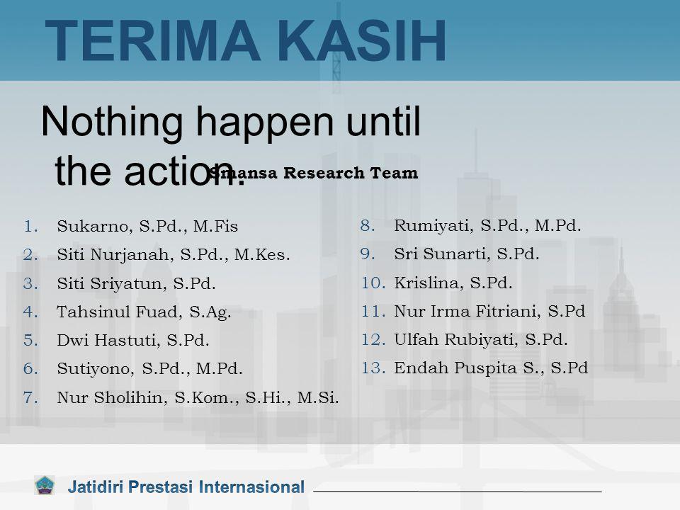 Nothing happen until the action. TERIMA KASIH 1.Sukarno, S.Pd., M.Fis 2.Siti Nurjanah, S.Pd., M.Kes. 3.Siti Sriyatun, S.Pd. 4.Tahsinul Fuad, S.Ag. 5.D