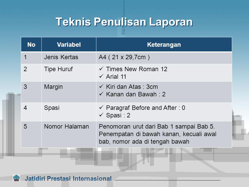 Teknis Penulisan Laporan NoVariabelKeterangan 1Jenis KertasA4 ( 21 x 29,7cm ) 2Tipe Huruf Times New Roman 12 Arial 11 3Margin Kiri dan Atas : 3cm Kana