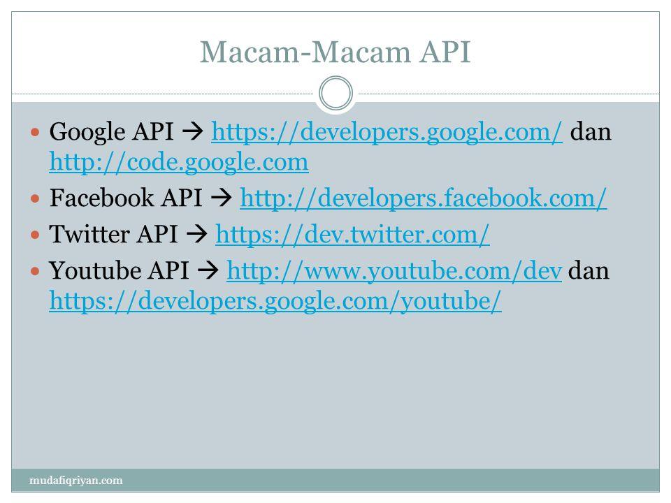 Macam-Macam API Google API  https://developers.google.com/ dan http://code.google.comhttps://developers.google.com/ http://code.google.com Facebook A