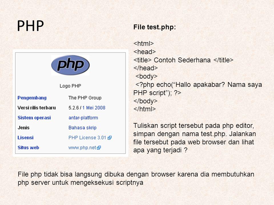 PHP File test.php: Contoh Sederhana Tuliskan script tersebut pada php editor, simpan dengan nama test.php. Jalankan file tersebut pada web browser dan