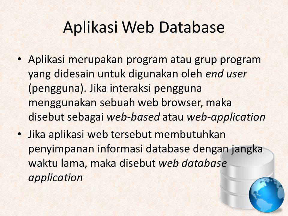 Aplikasi Web Database Aplikasi merupakan program atau grup program yang didesain untuk digunakan oleh end user (pengguna). Jika interaksi pengguna men