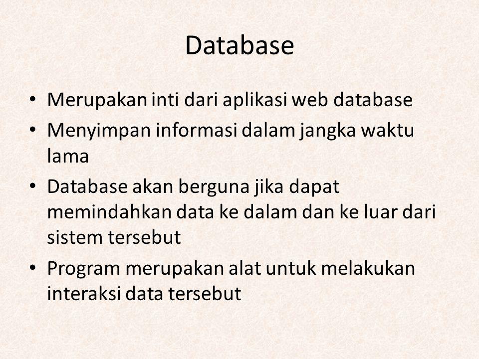 Database Merupakan inti dari aplikasi web database Menyimpan informasi dalam jangka waktu lama Database akan berguna jika dapat memindahkan data ke da