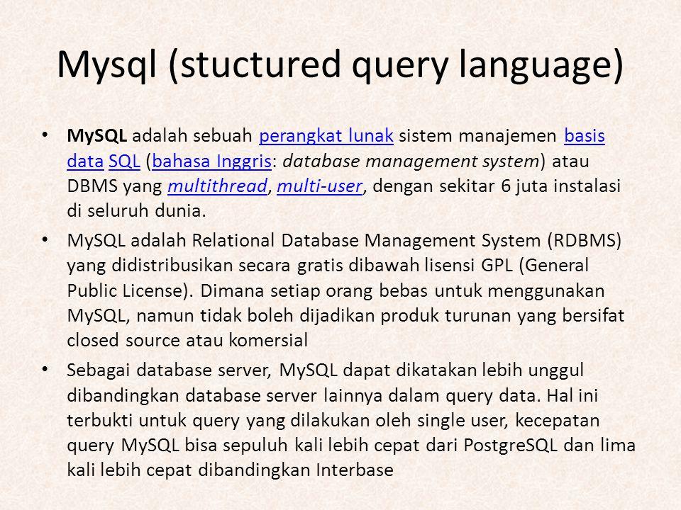 Mysql (stuctured query language) MySQL adalah sebuah perangkat lunak sistem manajemen basis data SQL (bahasa Inggris: database management system) atau