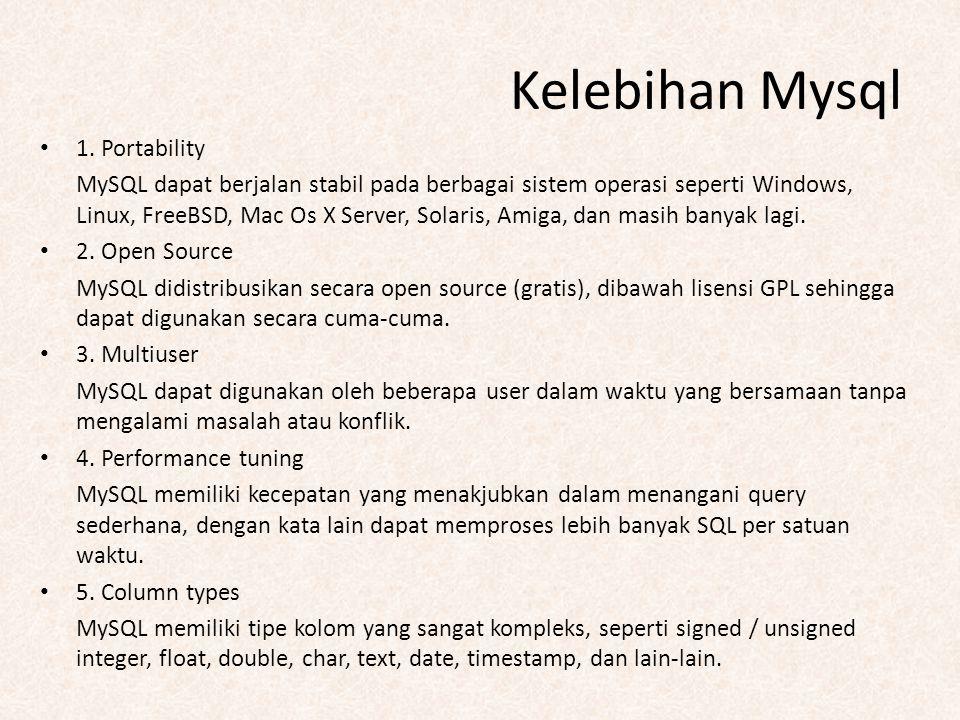 Kelebihan Mysql 1. Portability MySQL dapat berjalan stabil pada berbagai sistem operasi seperti Windows, Linux, FreeBSD, Mac Os X Server, Solaris, Ami