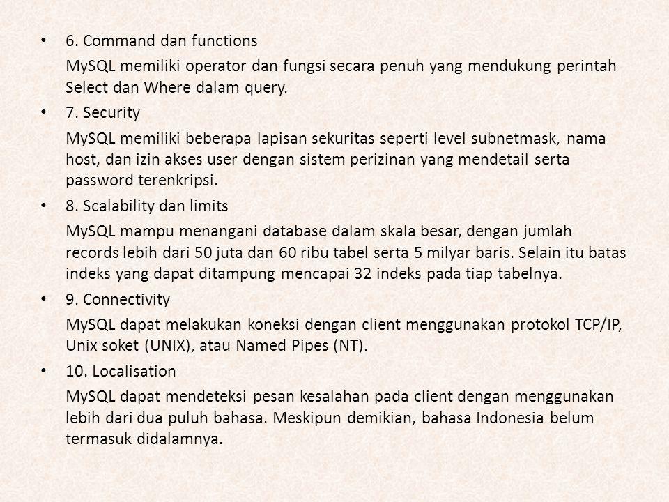 6. Command dan functions MySQL memiliki operator dan fungsi secara penuh yang mendukung perintah Select dan Where dalam query. 7. Security MySQL memil