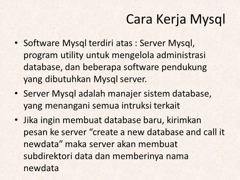 Cara Kerja Mysql Software Mysql terdiri atas : Server Mysql, program utility untuk mengelola administrasi database, dan beberapa software pendukung ya