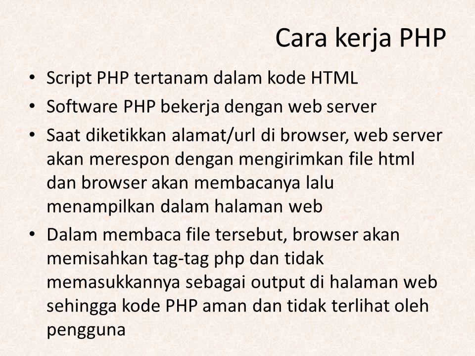 Cara kerja PHP Script PHP tertanam dalam kode HTML Software PHP bekerja dengan web server Saat diketikkan alamat/url di browser, web server akan meres