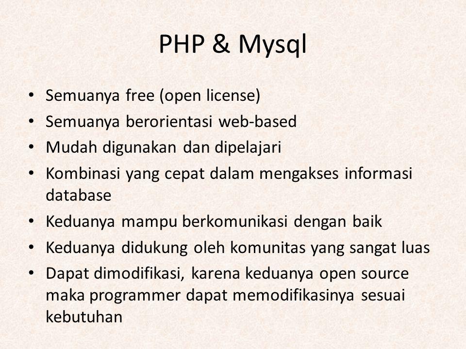 PHP & Mysql Semuanya free (open license) Semuanya berorientasi web-based Mudah digunakan dan dipelajari Kombinasi yang cepat dalam mengakses informasi