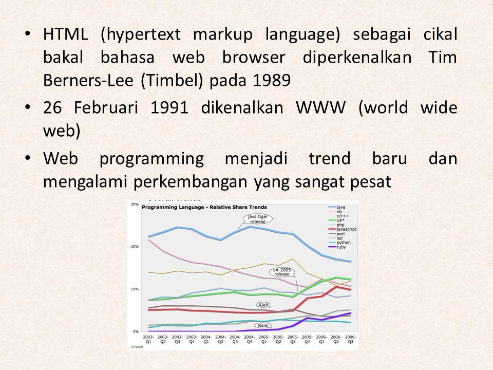 HTML (hypertext markup language) sebagai cikal bakal bahasa web browser diperkenalkan Tim Berners-Lee (Timbel) pada 1989 26 Februari 1991 dikenalkan W