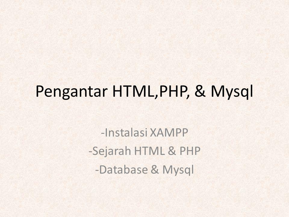 Pengantar HTML,PHP, & Mysql -Instalasi XAMPP -Sejarah HTML & PHP -Database & Mysql