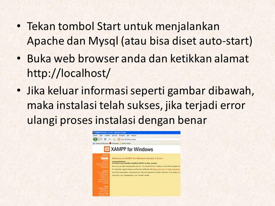 Tekan tombol Start untuk menjalankan Apache dan Mysql (atau bisa diset auto-start) Buka web browser anda dan ketikkan alamat http://localhost/ Jika ke