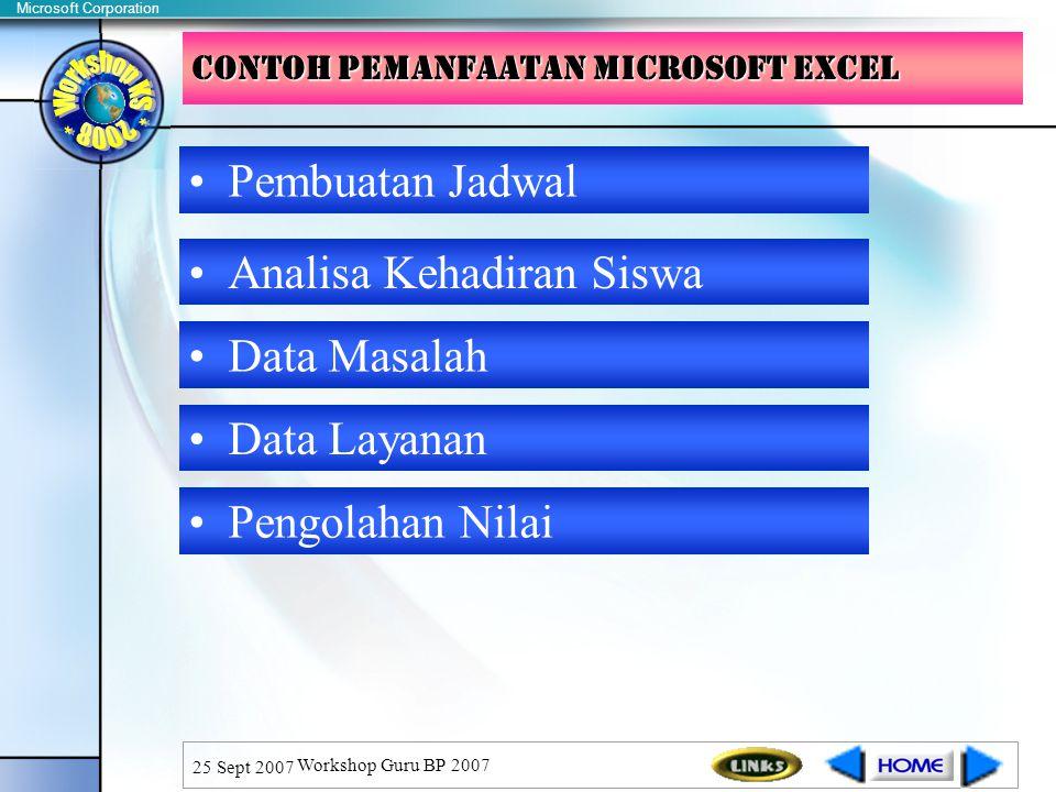 Microsoft Corporation 25 Sept 2007 Workshop Guru BP 2007 CONTOH PEMANFAATAN microsoft EXCEL Analisa Kehadiran Siswa Data Masalah Data Layanan Pengolahan Nilai Pembuatan Jadwal