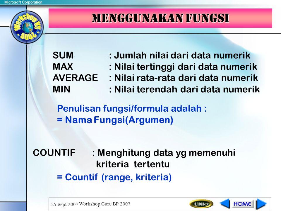 Microsoft Corporation 25 Sept 2007 Workshop Guru BP 2007 Menggunakan fungsi SUM: Jumlah nilai dari data numerik MAX: Nilai tertinggi dari data numerik AVERAGE: Nilai rata-rata dari data numerik MIN: Nilai terendah dari data numerik Penulisan fungsi/formula adalah : = Nama Fungsi(Argumen) COUNTIF : Menghitung data yg memenuhi kriteria tertentu = Countif (range, kriteria)