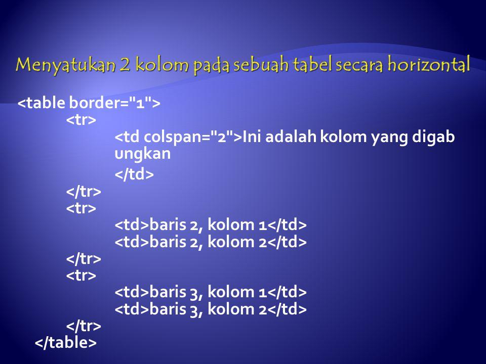 Ini adalah kolom yang digab ungkan baris 2, kolom 1 baris 2, kolom 2 baris 3, kolom 1 baris 3, kolom 2