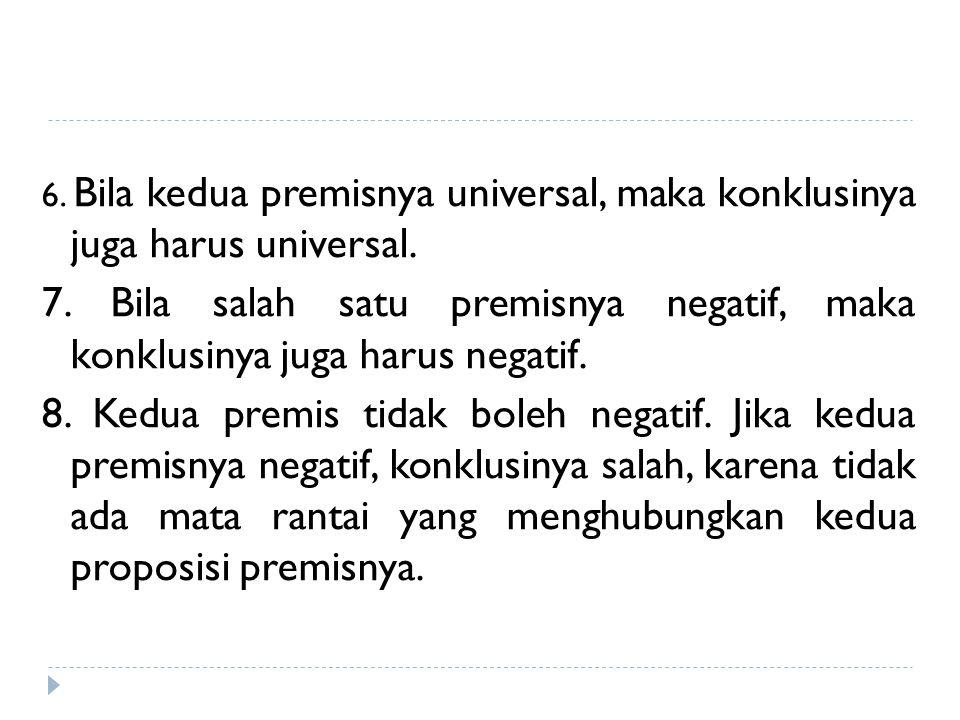 6. Bila kedua premisnya universal, maka konklusinya juga harus universal. 7. Bila salah satu premisnya negatif, maka konklusinya juga harus negatif. 8