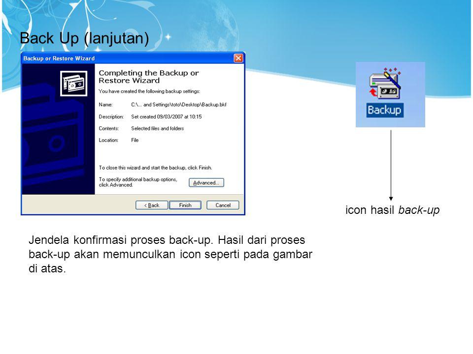 Jendela konfirmasi proses back-up. Hasil dari proses back-up akan memunculkan icon seperti pada gambar di atas. icon hasil back-up