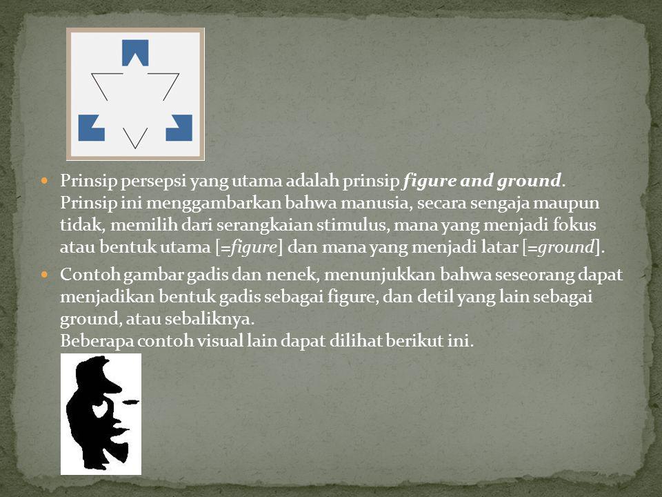 Prinsip persepsi yang utama adalah prinsip figure and ground.