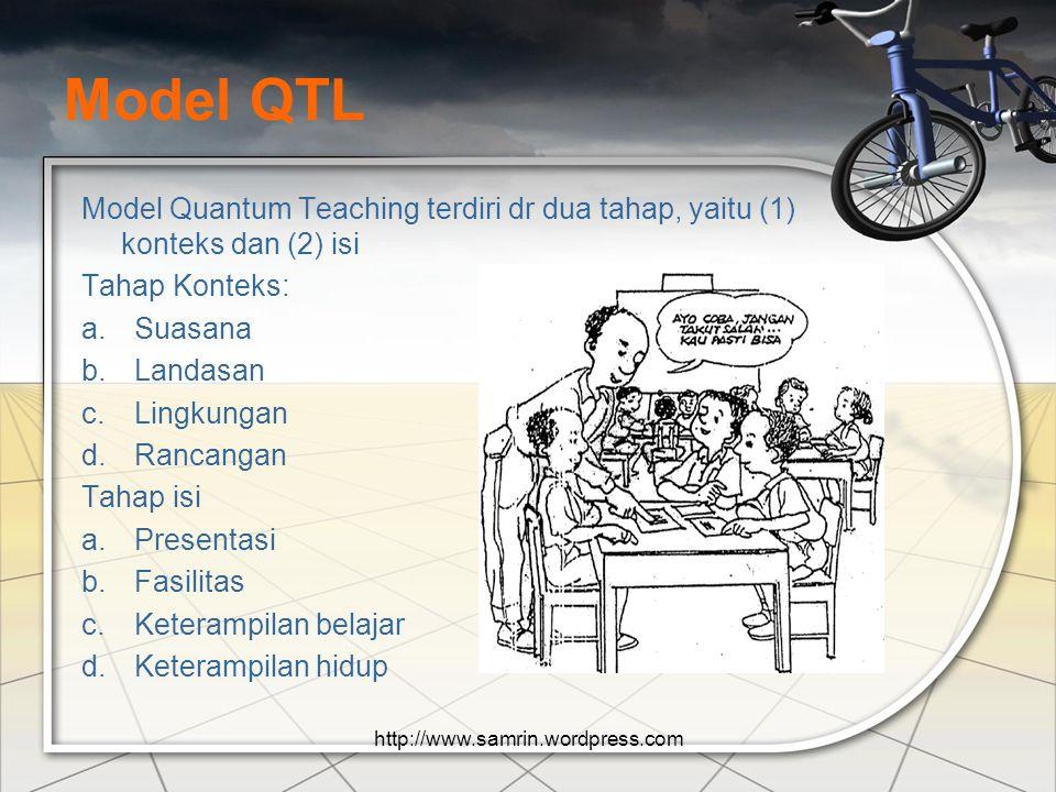 Prinsip-prinsip QTL Segalanya berbicara Segalanya mempunyai tujuan Pengalaman sebelum pemberian nama Semua usaha siswa harus diakui Jika pantas dipela