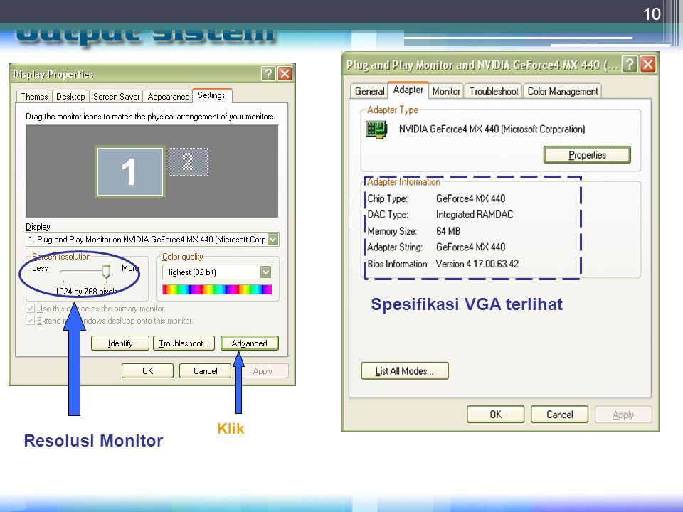 10 Resolusi Monitor Klik Spesifikasi VGA terlihat