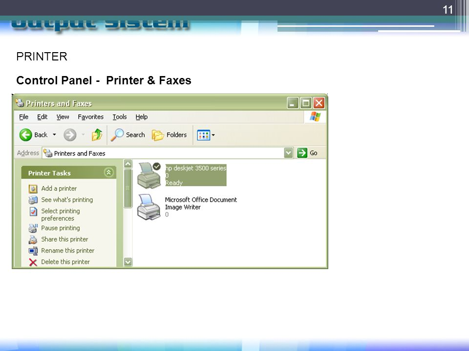 11 PRINTER Control Panel - Printer & Faxes