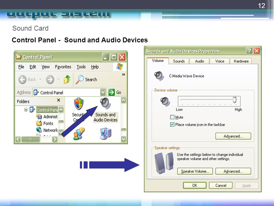 Sound Card 12 Control Panel - Sound and Audio Devices