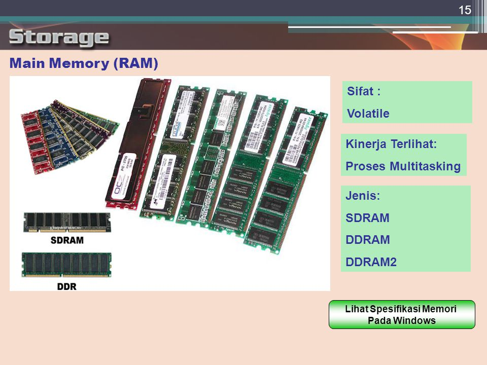 15 Main Memory (RAM)  Sifat : Volatile Kinerja Terlihat: Proses Multitasking Jenis: SDRAM DDRAM DDRAM2 Lihat Spesifikasi Memori Pada Windows