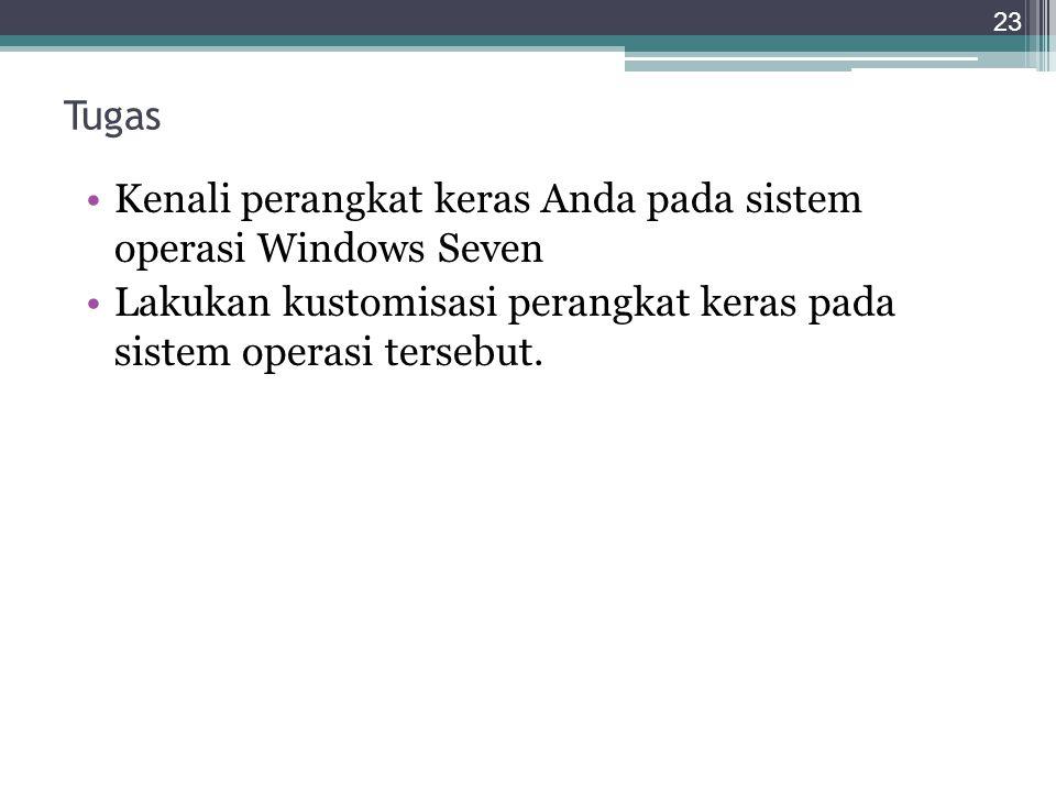 Tugas Kenali perangkat keras Anda pada sistem operasi Windows Seven Lakukan kustomisasi perangkat keras pada sistem operasi tersebut.