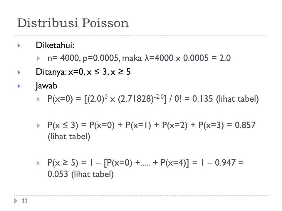 Distribusi Poisson 11  Diketahui:  n= 4000, p=0.0005, maka λ =4000 x 0.0005 = 2.0  Ditanya: x=0, x ≤ 3, x ≥ 5  Jawab  P(x=0) = [(2.0) 0 x (2.7182