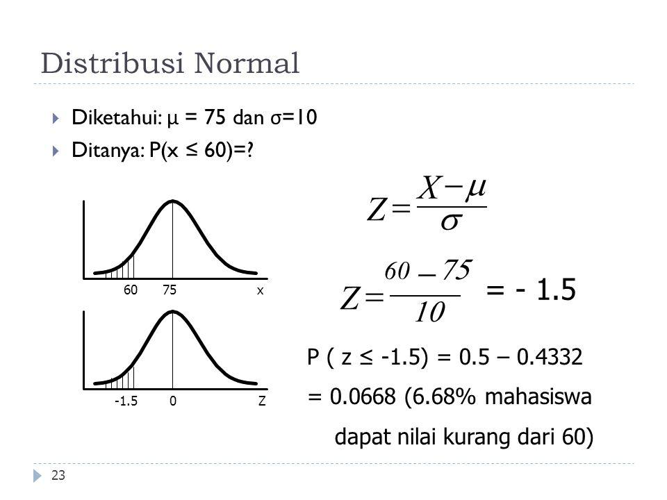 Distribusi Normal 23  Diketahui: μ = 75 dan σ =10  Ditanya: P(x ≤ 60)=? 7560x 0Z X Z     Z     = - 1.5 -1.5 P ( z ≤ -1.5) = 0.5 – 0.4332 =