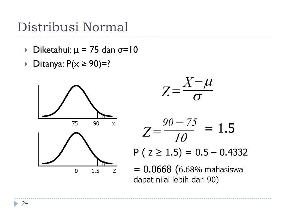Distribusi Normal 24  Diketahui: μ = 75 dan σ =10  Ditanya: P(x ≥ 90)=? 7590x 0Z Z 75    X Z     = 1.5 1.5 P ( z ≥ 1.5) = 0.5 – 0.4332 = 0.0