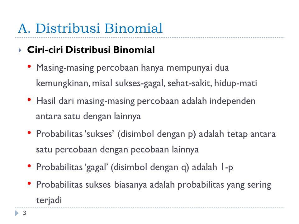 Distribusi Binomial 4 Syarat: Jumlah trial bil bulat Trial independen Setiap eksperimen mempunyai 2 outcome: sukses & gagal Peluang sukses setiap trial sama P(sukses) + P(gagal) = 1 n <<< & nilai probabilitas 0-1