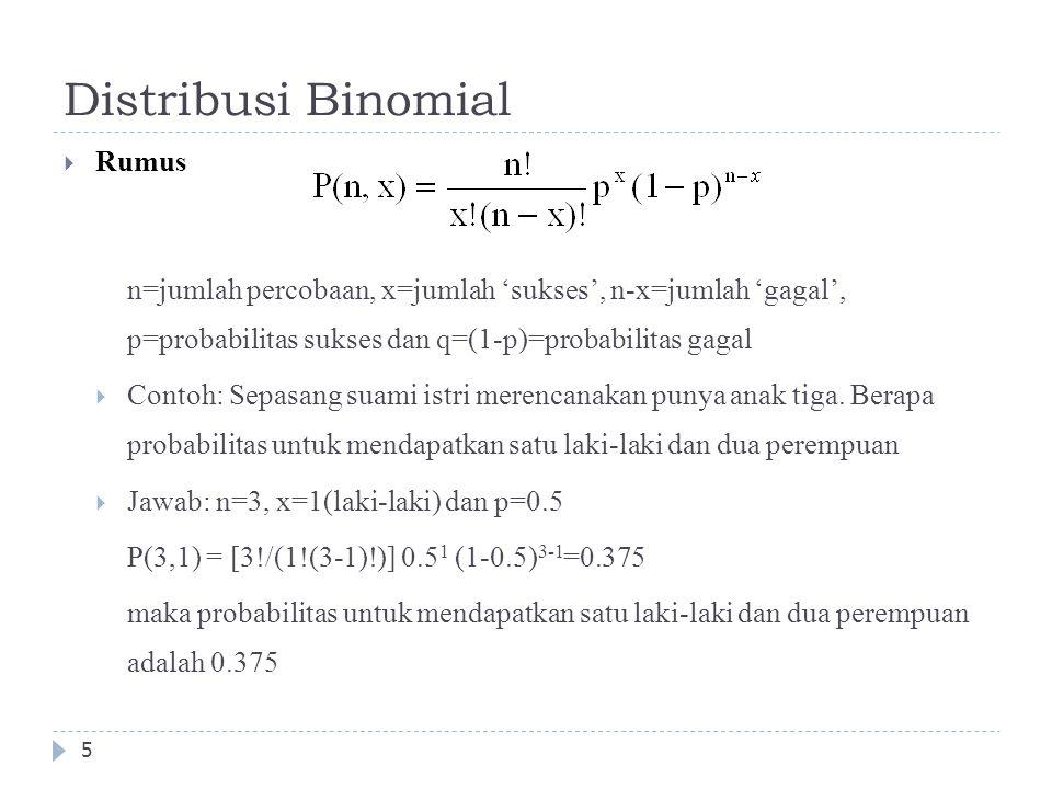 Distribusi Binomial  Rumus n=jumlah percobaan, x=jumlah 'sukses', n-x=jumlah 'gagal', p=probabilitas sukses dan q=(1-p)=probabilitas gagal  Contoh: