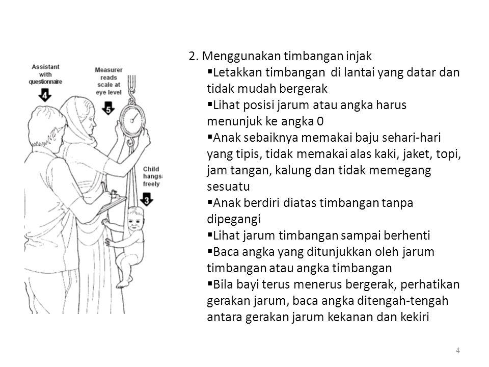3 Pengukuran BB 1.Menggunakan timbangan bayi  Timbangan bayi digunakan untuk menimbang anak sampai umur 2 th at selama anak masih bisa berbaring/dudu