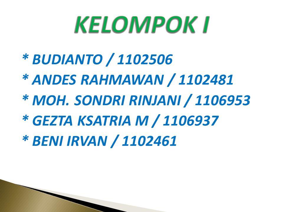 * BUDIANTO / 1102506 * ANDES RAHMAWAN / 1102481 * MOH.