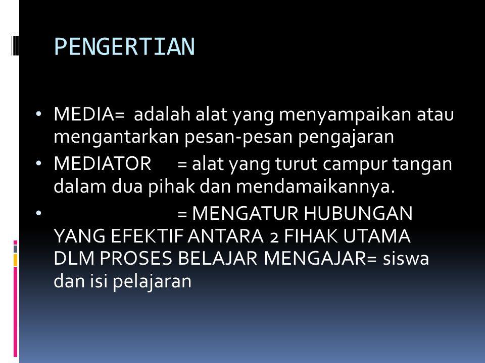 PENGERTIAN MEDIA= adalah alat yang menyampaikan atau mengantarkan pesan-pesan pengajaran MEDIATOR= alat yang turut campur tangan dalam dua pihak dan m
